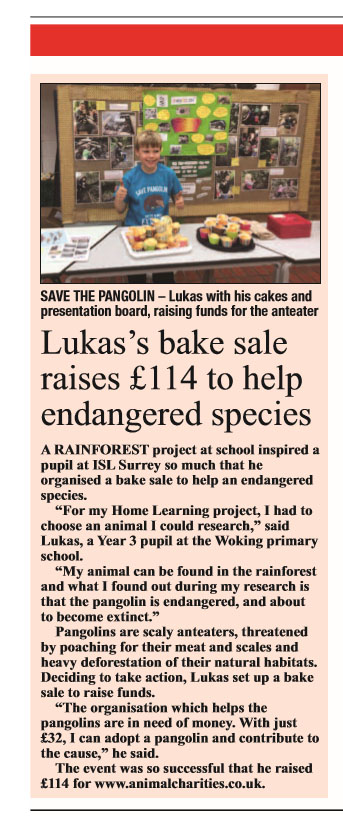 Article in the Woking News & Mail about Lukas bake sale to save the pangolins